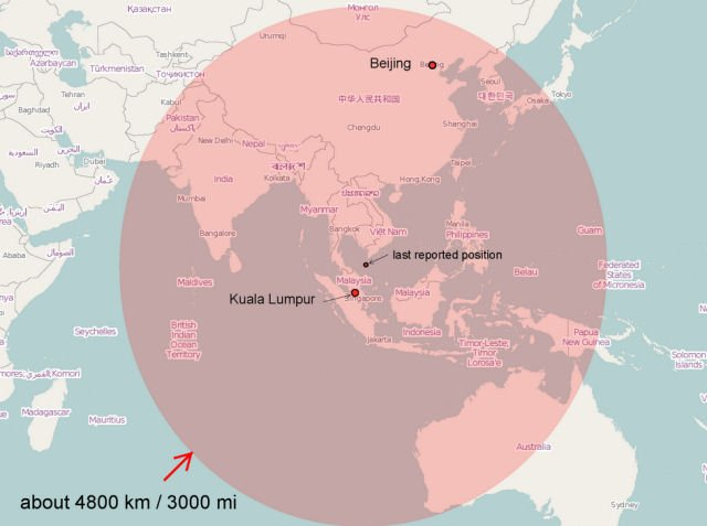 MH370 flight radius