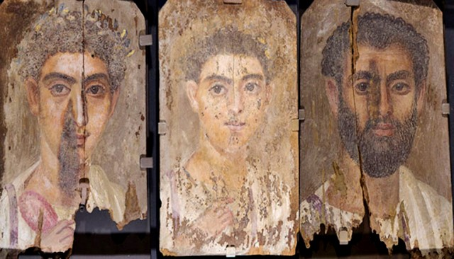 Above, Roman-era Egyptian mummy portraits from the site of Tebtunis, Egypt. Researchers found the synthetic pigment Egyptian blue in all three paintings. (Credit: Hearst Museum/UCBerkeley)