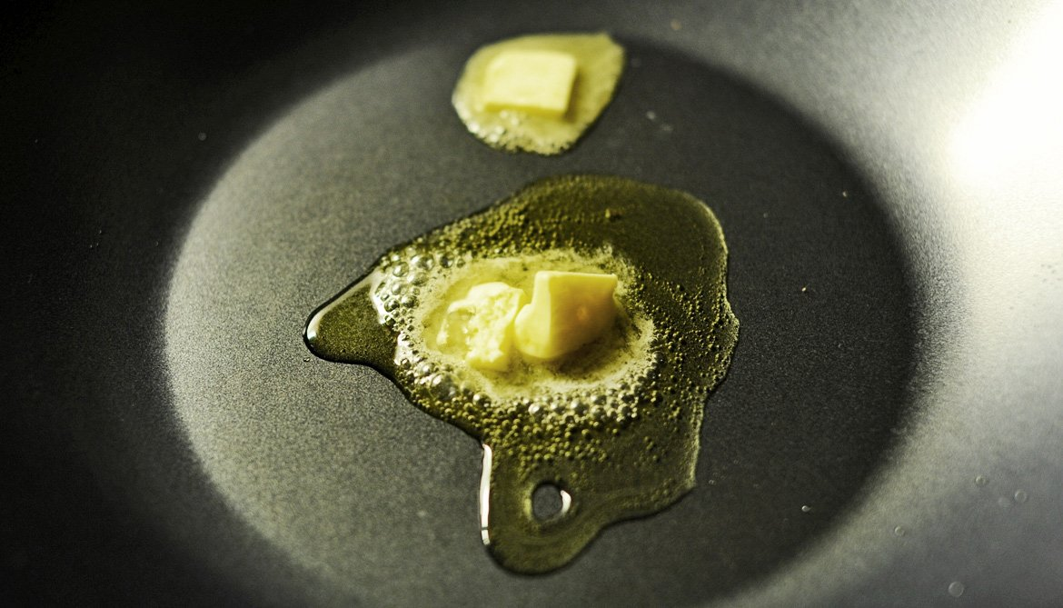 butter and oil in pan
