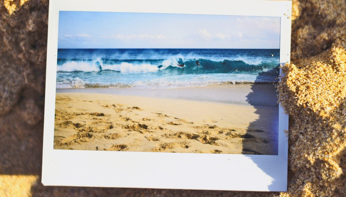 polaroid picture of a wave