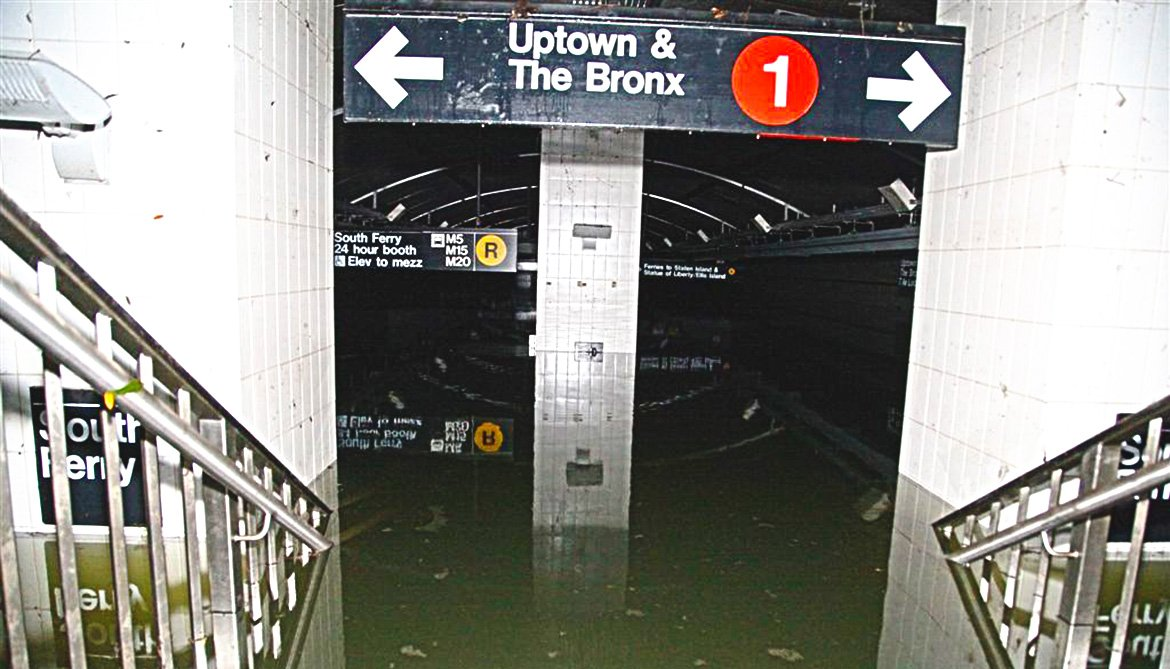 flooded subway station in NYC