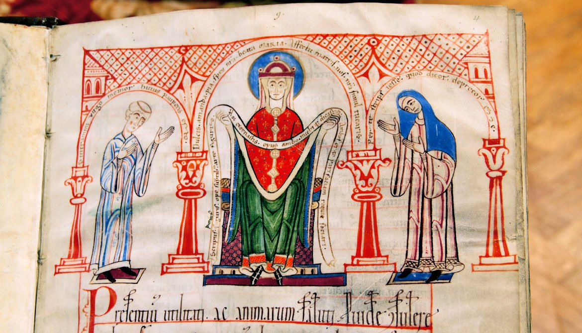 nun and priests in manuscript