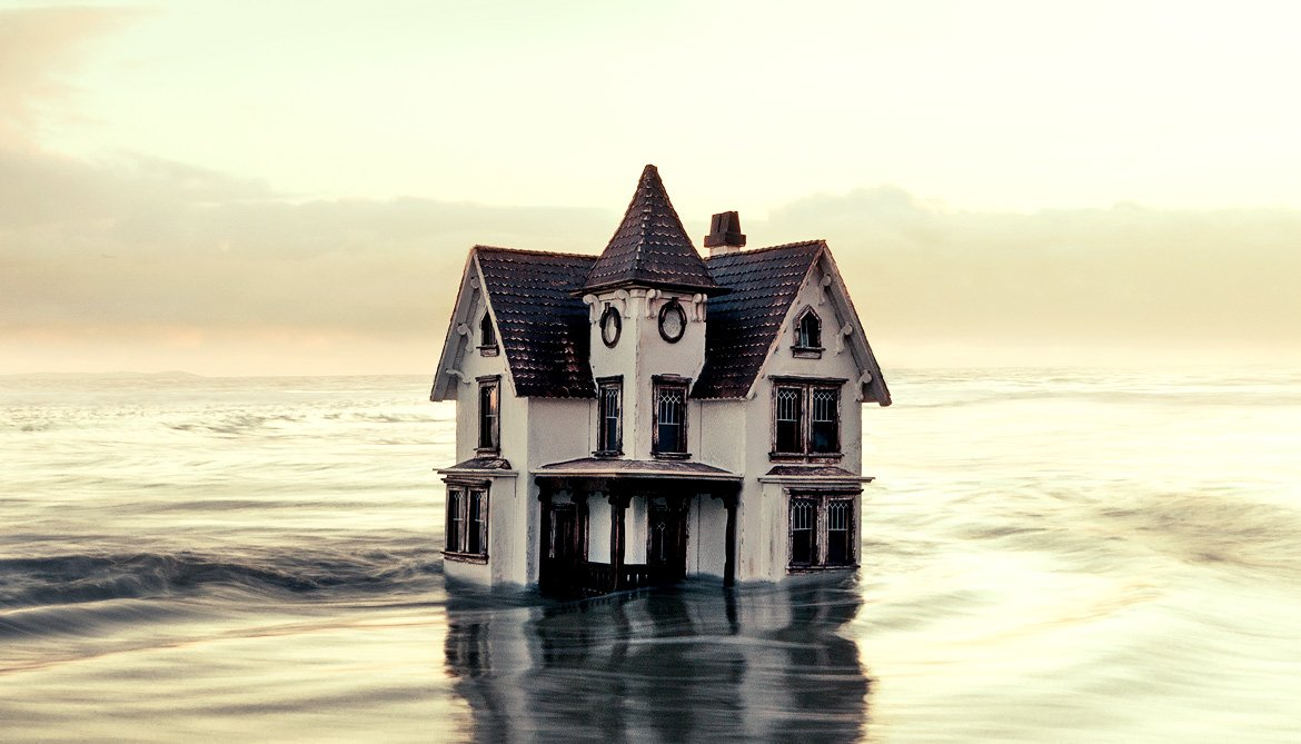 house in water