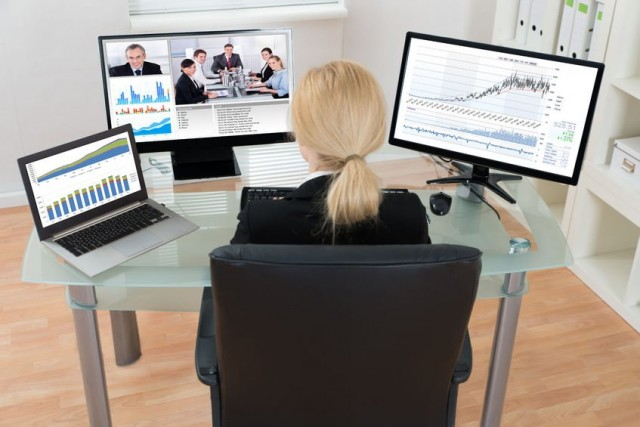 Woman in business video call