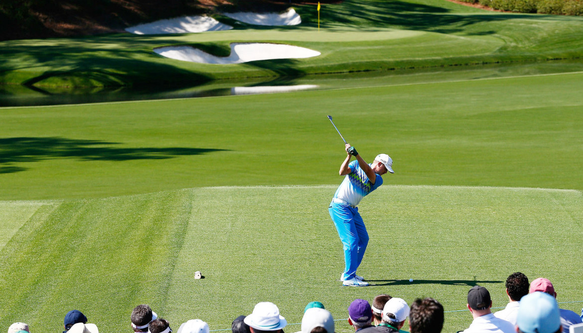 Jonas Blixt of Sweden tees off on No. 12