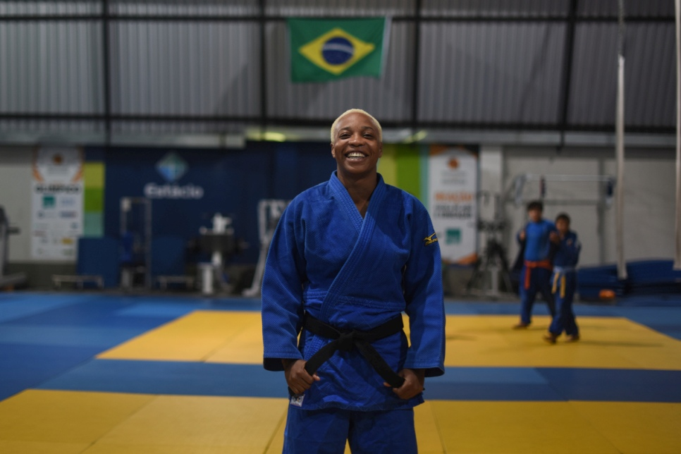 Yolande Mabika back at her Judo training centre in Rio de Janeiro this week. © UNHCR/Benjamin Loyseau