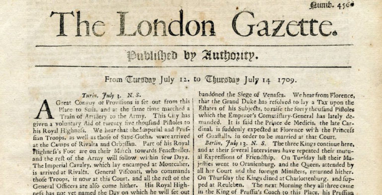 London Gazette 1709