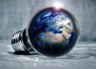 Light bulb with Earth inside