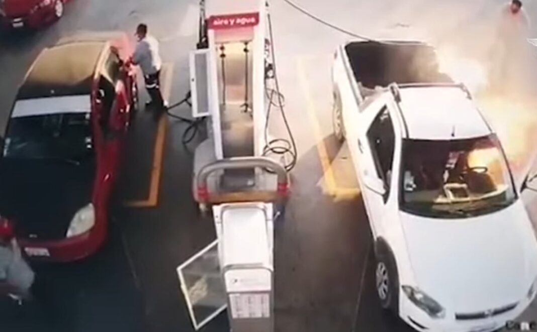 Gas station cell phone fire