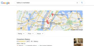 Google local results for bakery in Manhattan