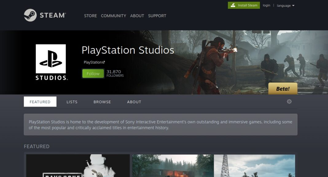 Playstation page at Steam